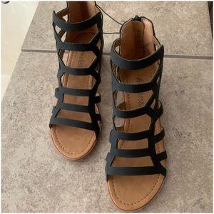 "Girl Black ""Anneliese"" Sandals. Size 2"